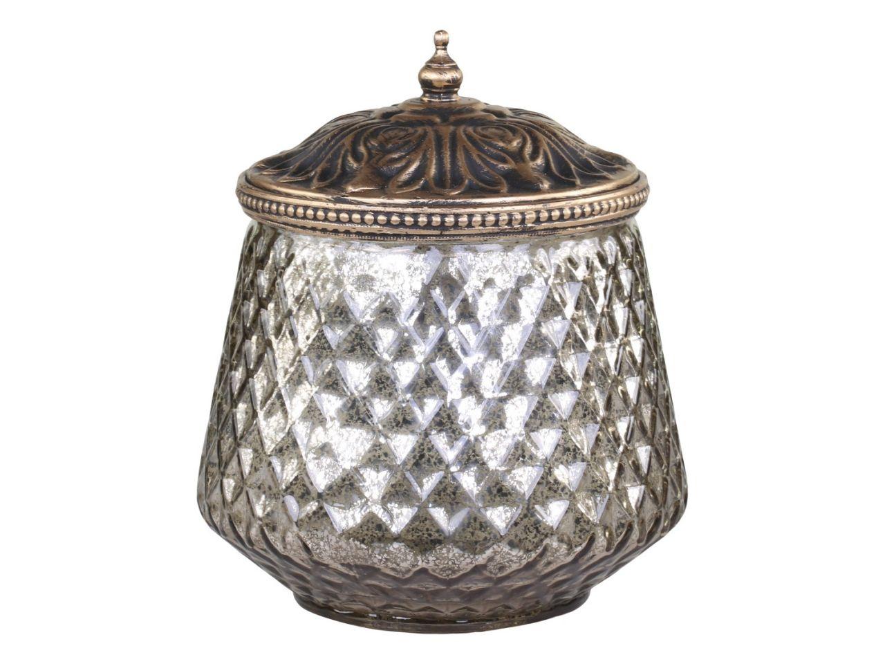 -Aufbewahrungsglas m Perlenkante und Deckel von Chic Antique-