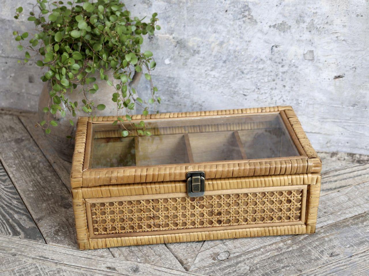 -Französische Geflochtene Box mit 4 Fächern von Chic Antique-