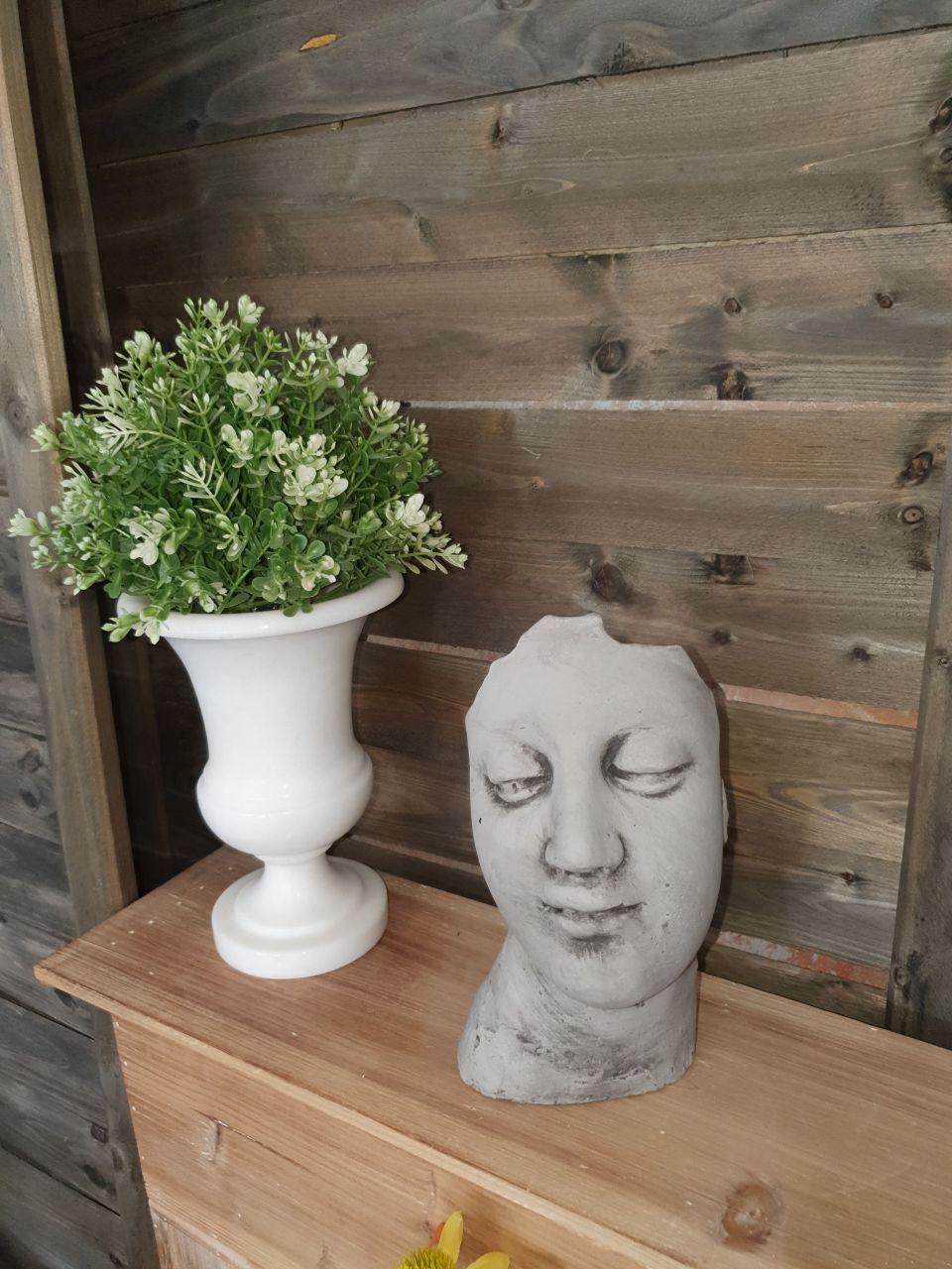 -Gartenfigur Kleines Gesicht- antik grau-