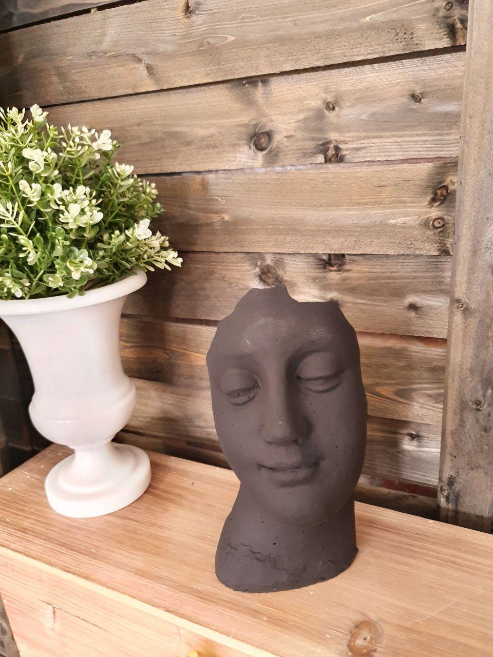-Gartenfigur Kleines Gesicht- schwarz-