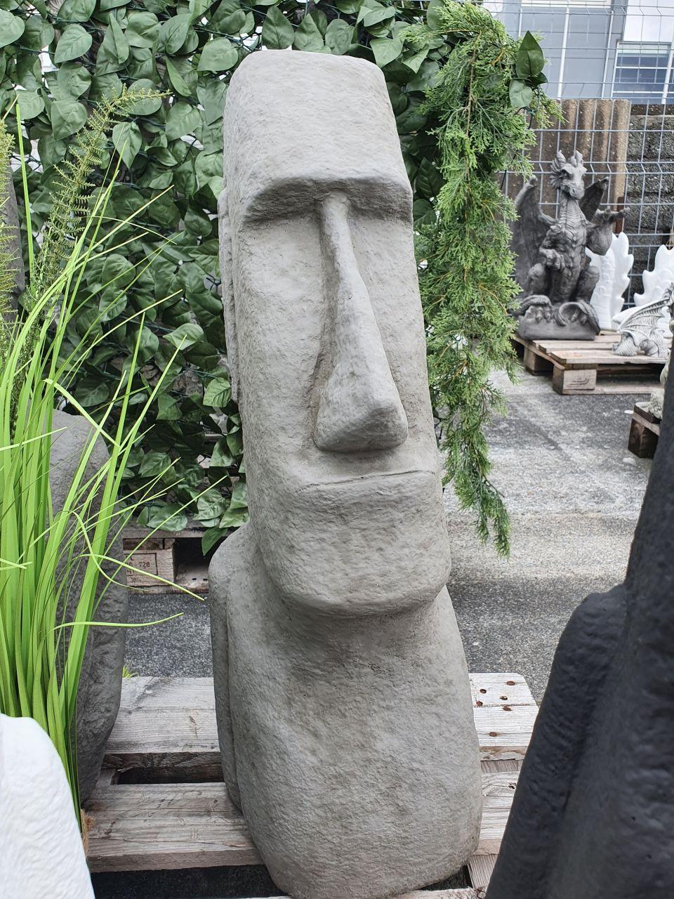 -Gartenfigur Moai 3 grau aus Betonguss-