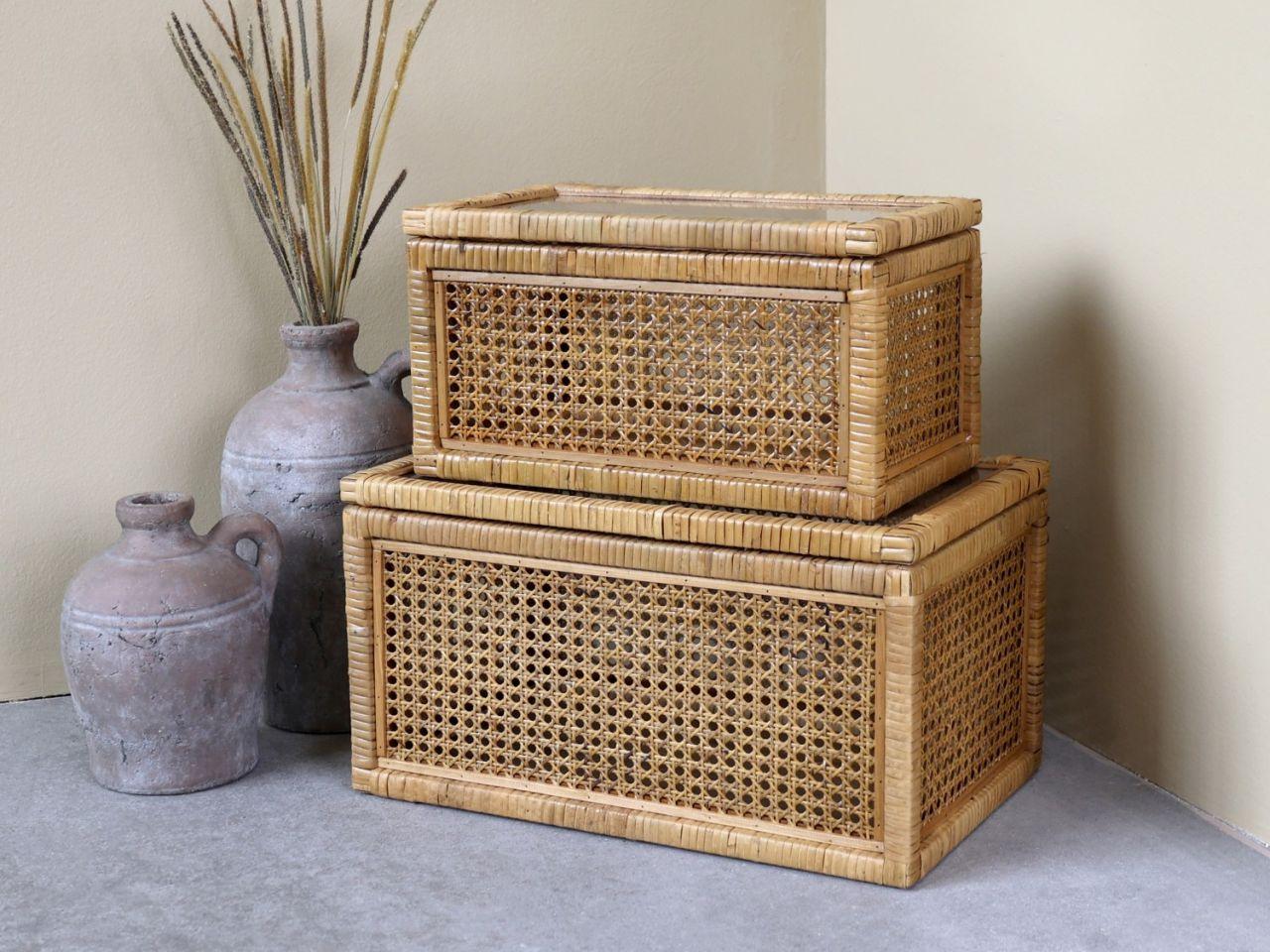 -Geflochtene Box mit Glas 2er Set von Chic Antique-