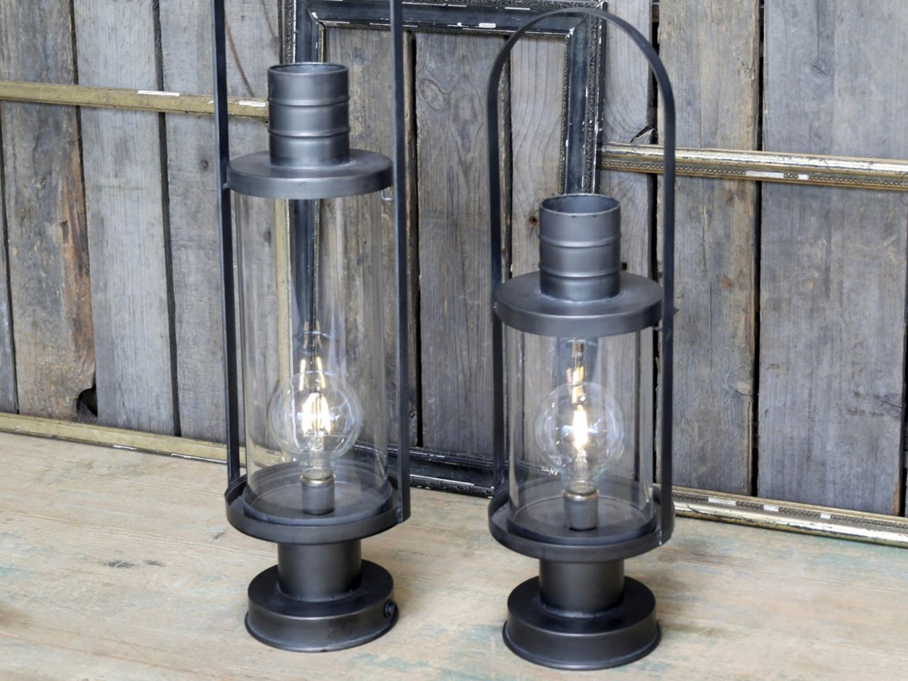 -Laterne mit Glühbirne und Timer L von Chic Antique-