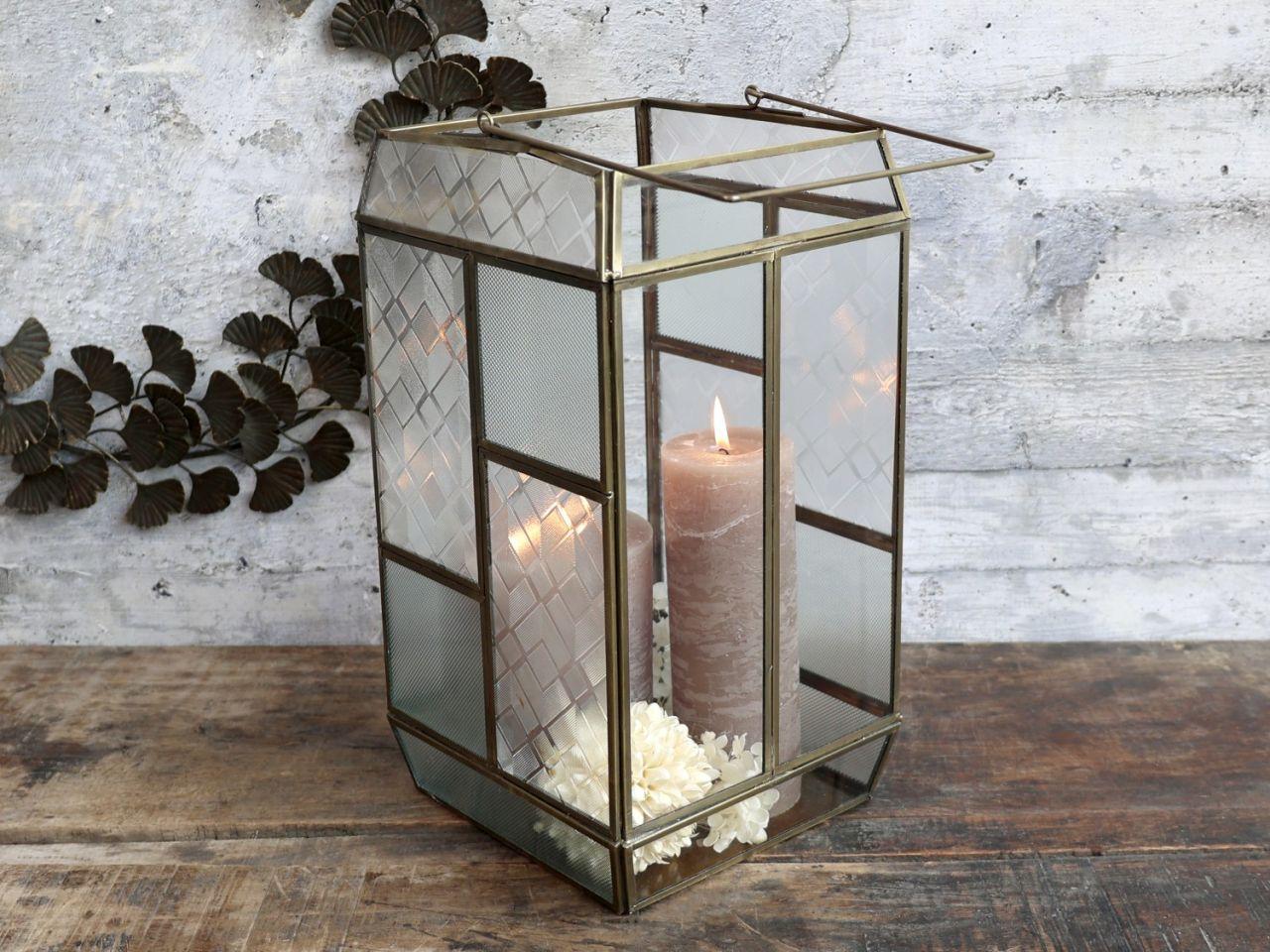 -Laterne mit mattiertem Glas von Chic Antique-