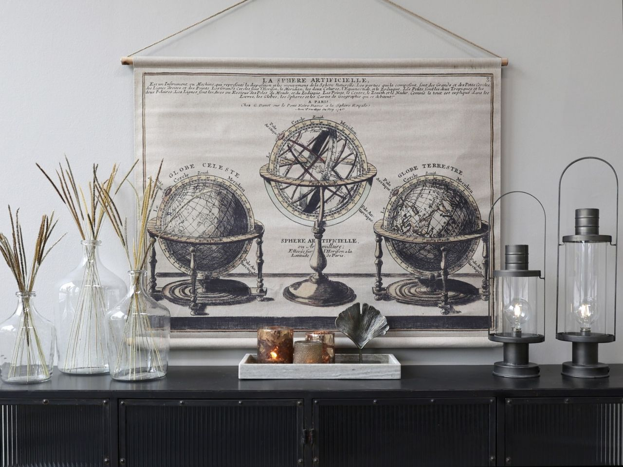 -Leinwandbild zum aufhängen mit Globus von Chic Antique-