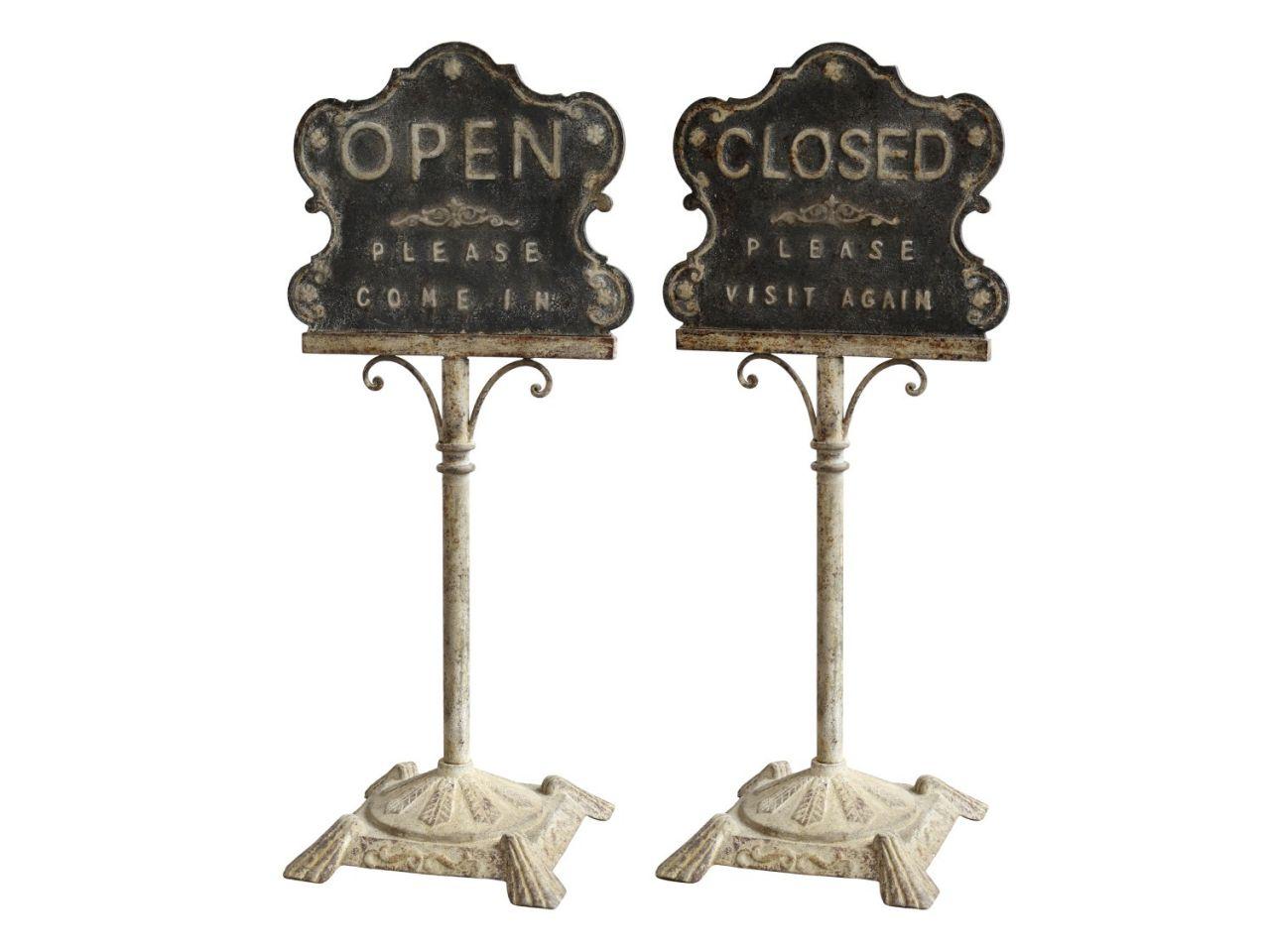 -Schild -Open-Closed- 2er Set von Chic Antique-