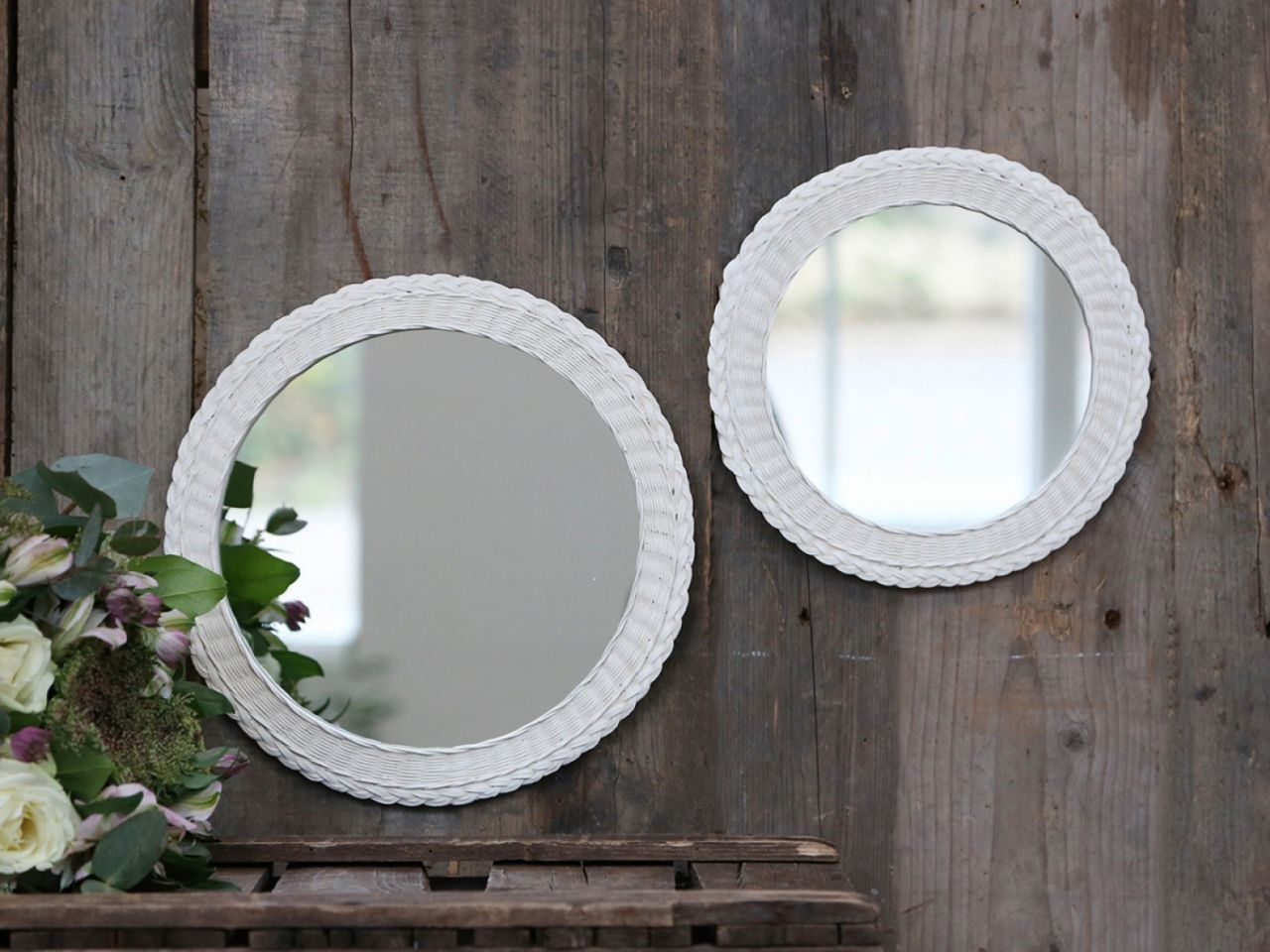 -Spiegel mit geflochtener Kante S von Chic Antique-