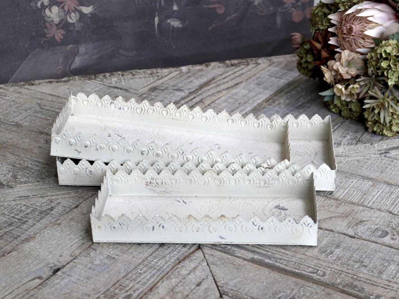 -Tablett mit Muster und Dekorkante -Creme- 3er Set von Chic Antique-
