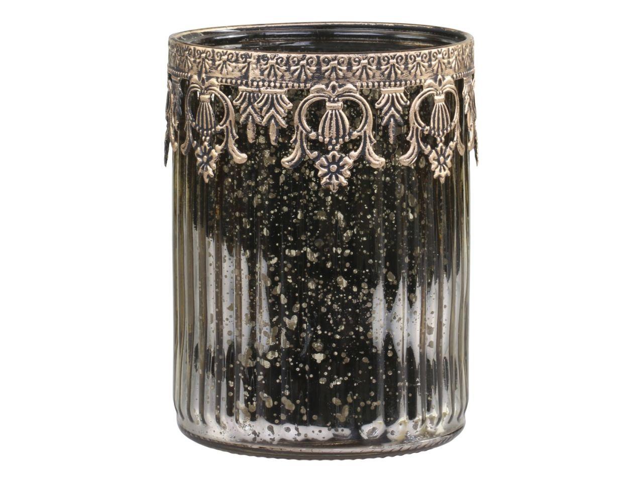 -Teelichthalter mit Dekokante in champagner von Chic Antique-