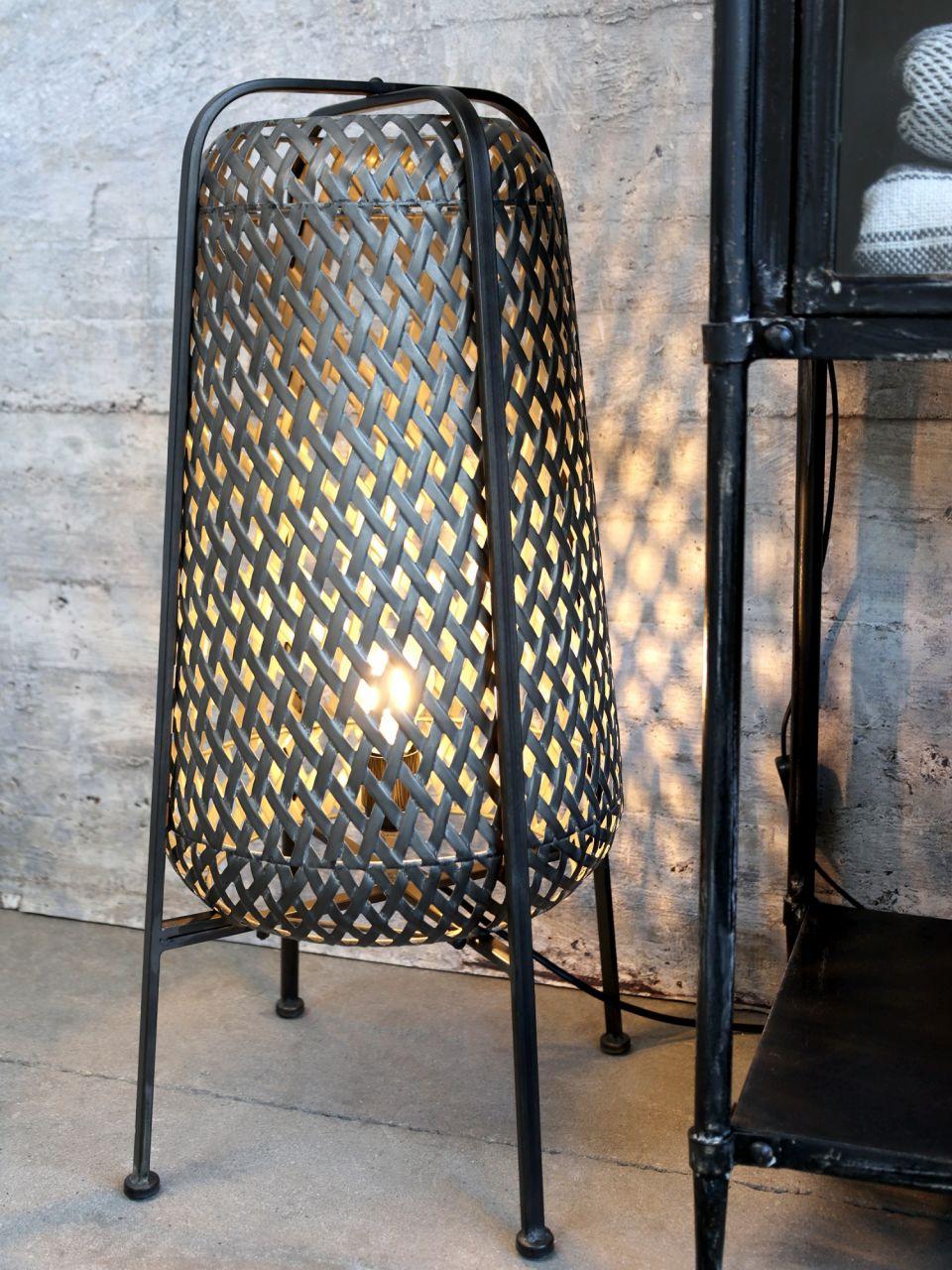 -Tischlampe mit Flechtmuster L von Chic Antique-