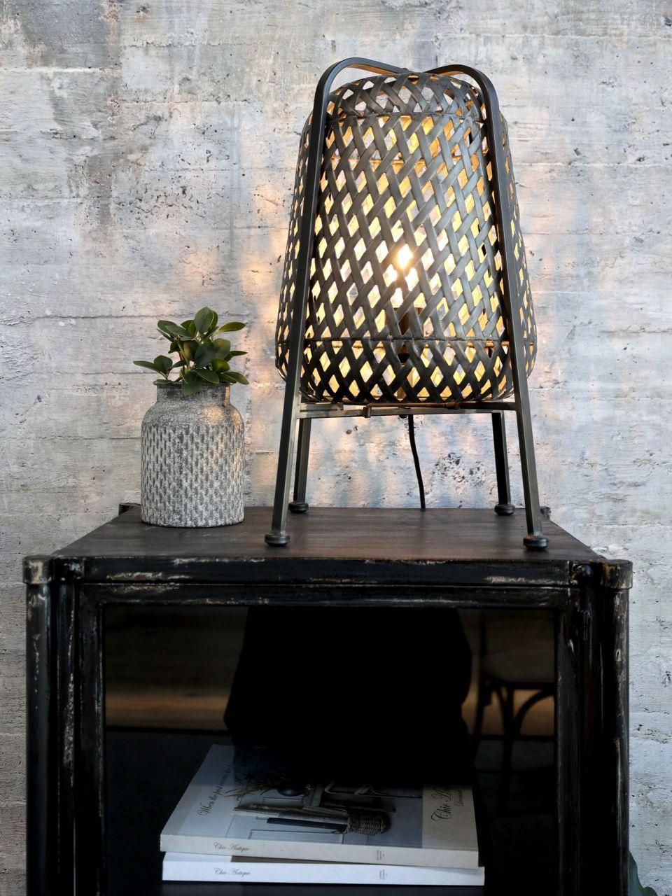-Tischlampe mit Flechtmuster M von Chic Antique-