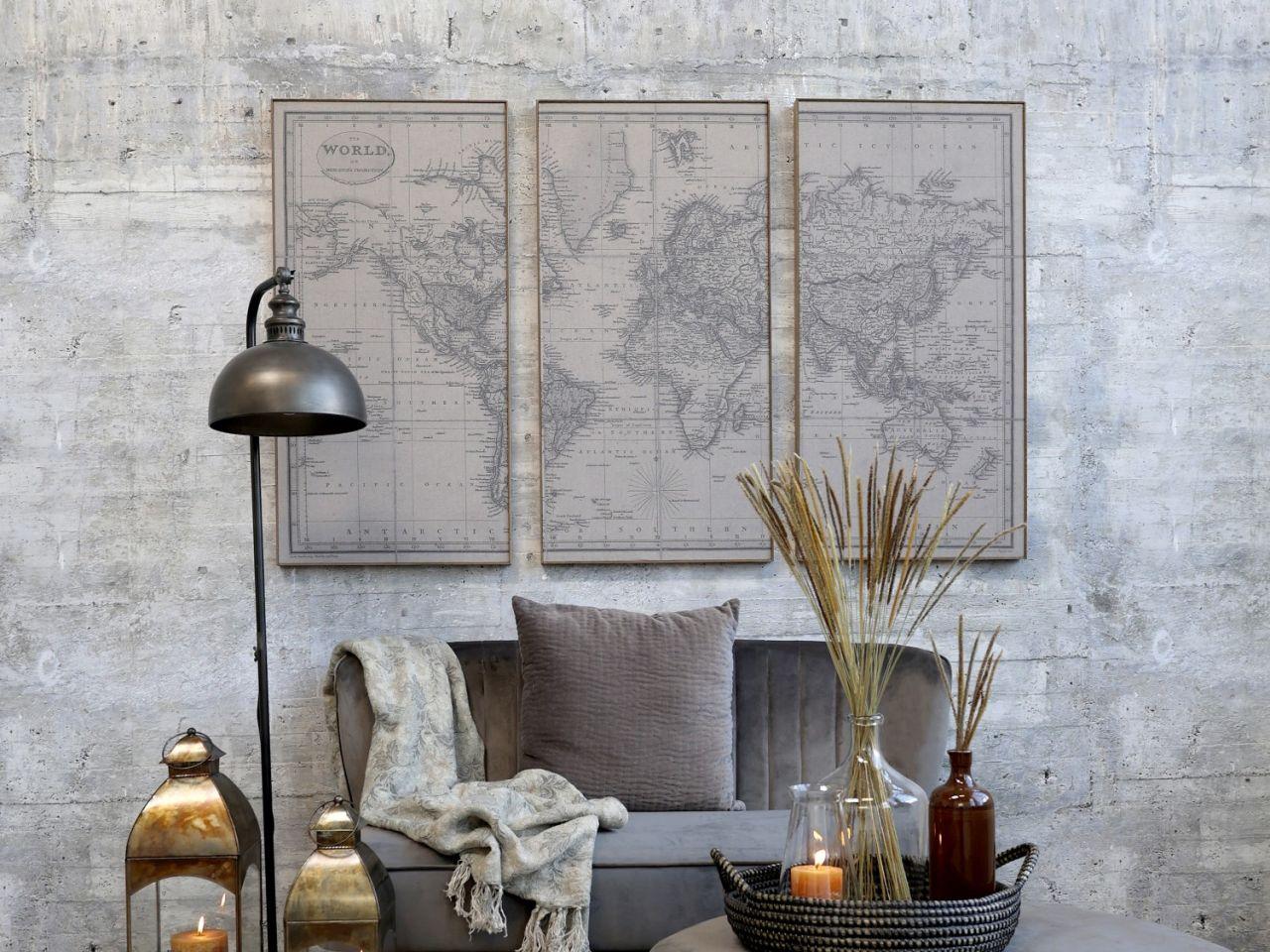 -Weltkartenbild 3 teilig von Chic Antique-
