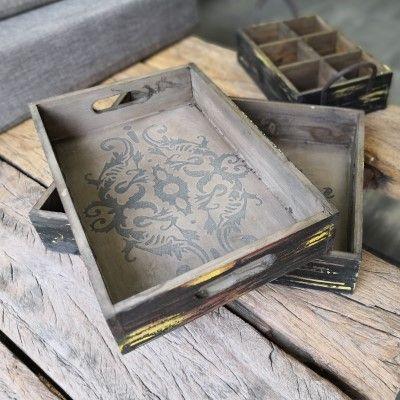 2er Set Tabletts Hoka- mit Ornamenten- Holzvon Zauberblume