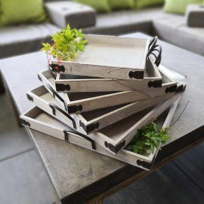 6er Set Tablett- quadratisch- weiss-gewischt- Holzvon Zauberblume