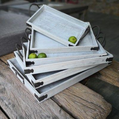 6er Set Tabletts- rechteckig- weiss-gewischt- Holzvon Zauberblume
