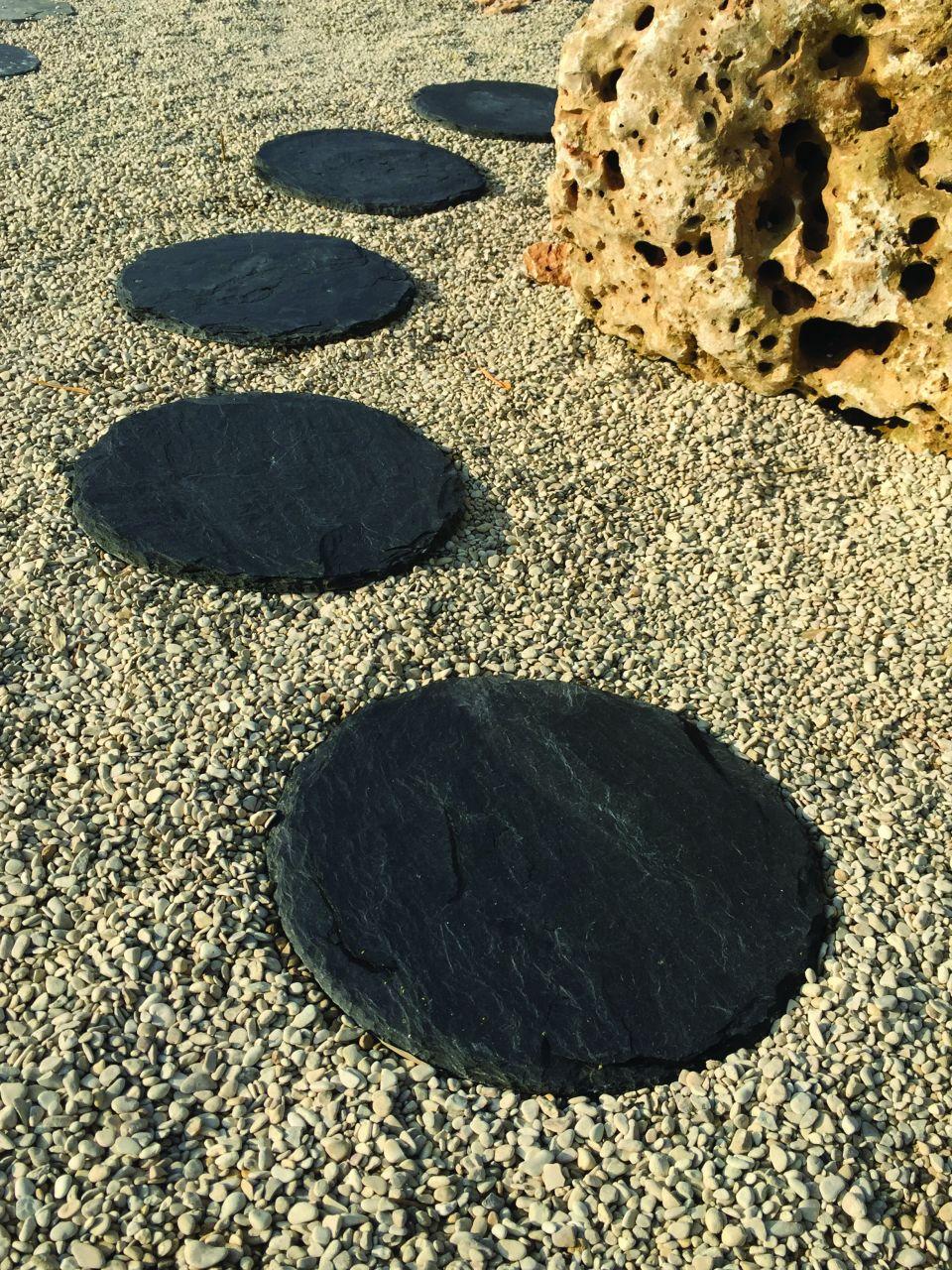 Blackline Schiefer Trittplatte rund
