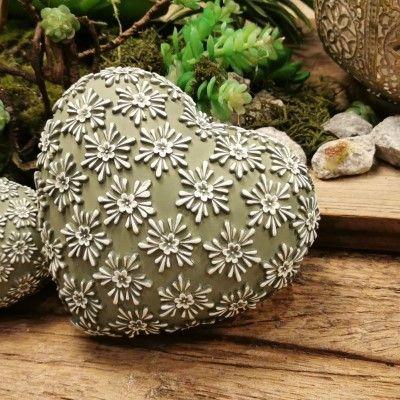 Dekoherz Flores- grün-weiss- Resin- 12-5 cmvon Zauberblume