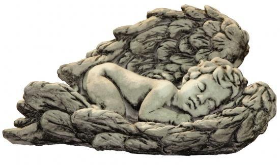 Gartenfigur Baby in Flügel liegend MINER- Steinguss