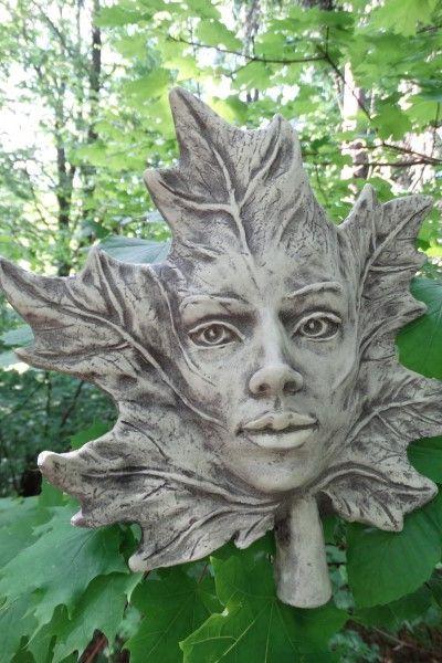 Gartenfigur Blatt AHORN- Steinguss
