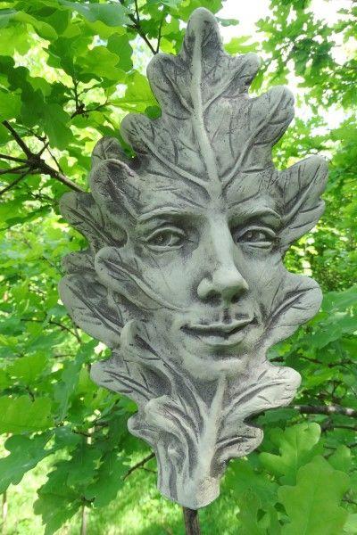 Gartenfigur Blatt EICHE- Steinguss