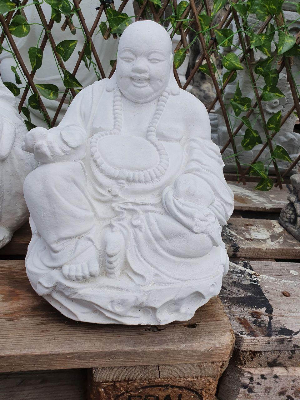 Gartenfigur Buddha Hoeti klein- weiss