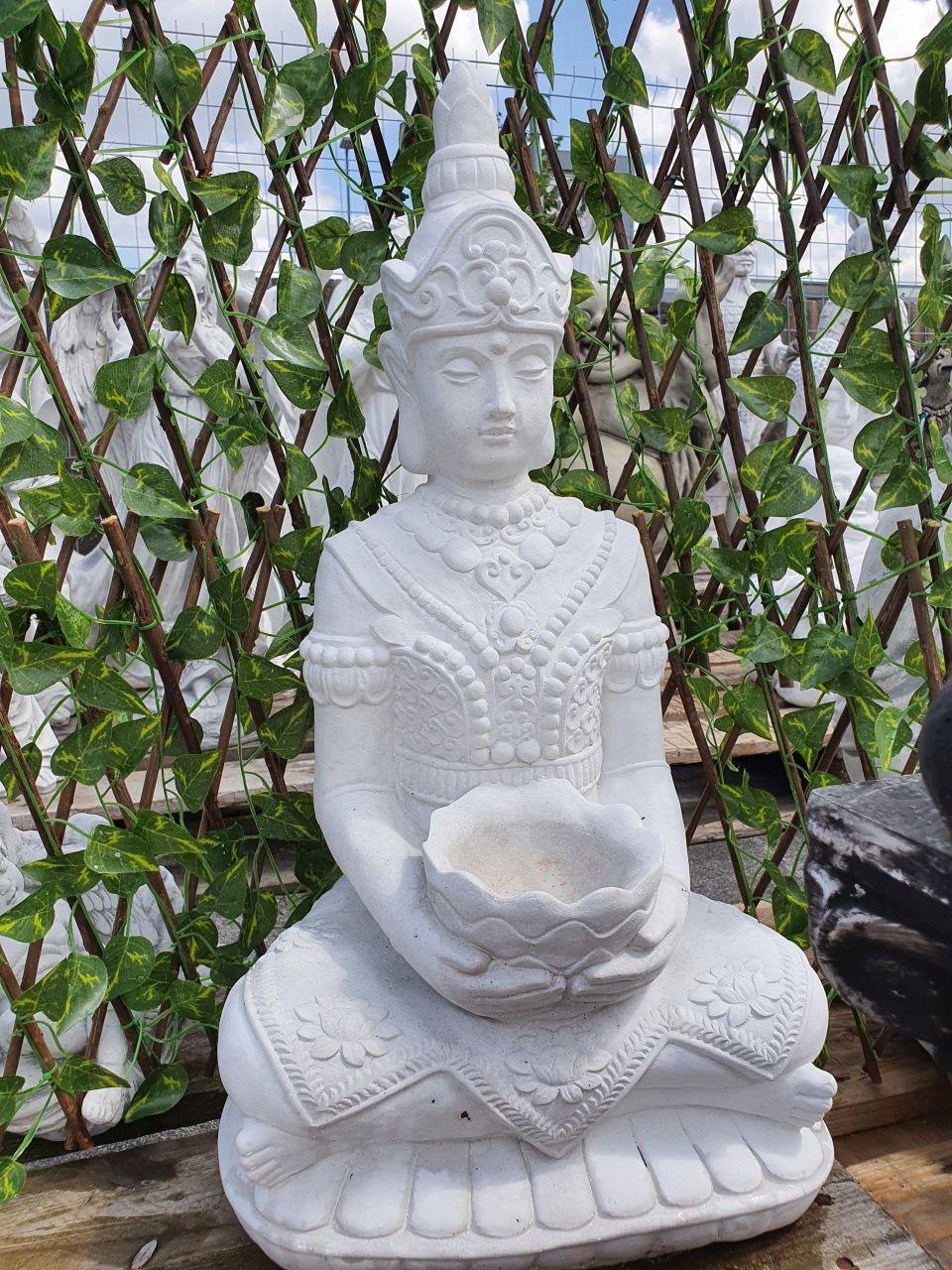 Gartenfigur Buddha mit Kopfschmuck- weiss