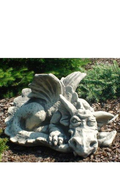 Gartenfigur Drache PEEP- zwinkernd- Steinguss