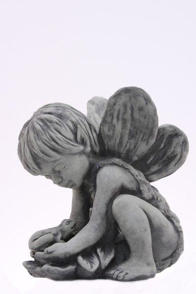 Gartenfigur Elfenkind ANDIN- kniend mit sep- Frosch