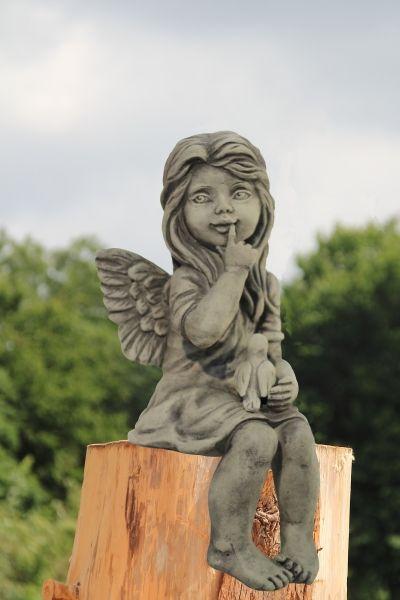 Gartenfigur Engel DARA- Kantenhocker- Steinguss incl- Vogel