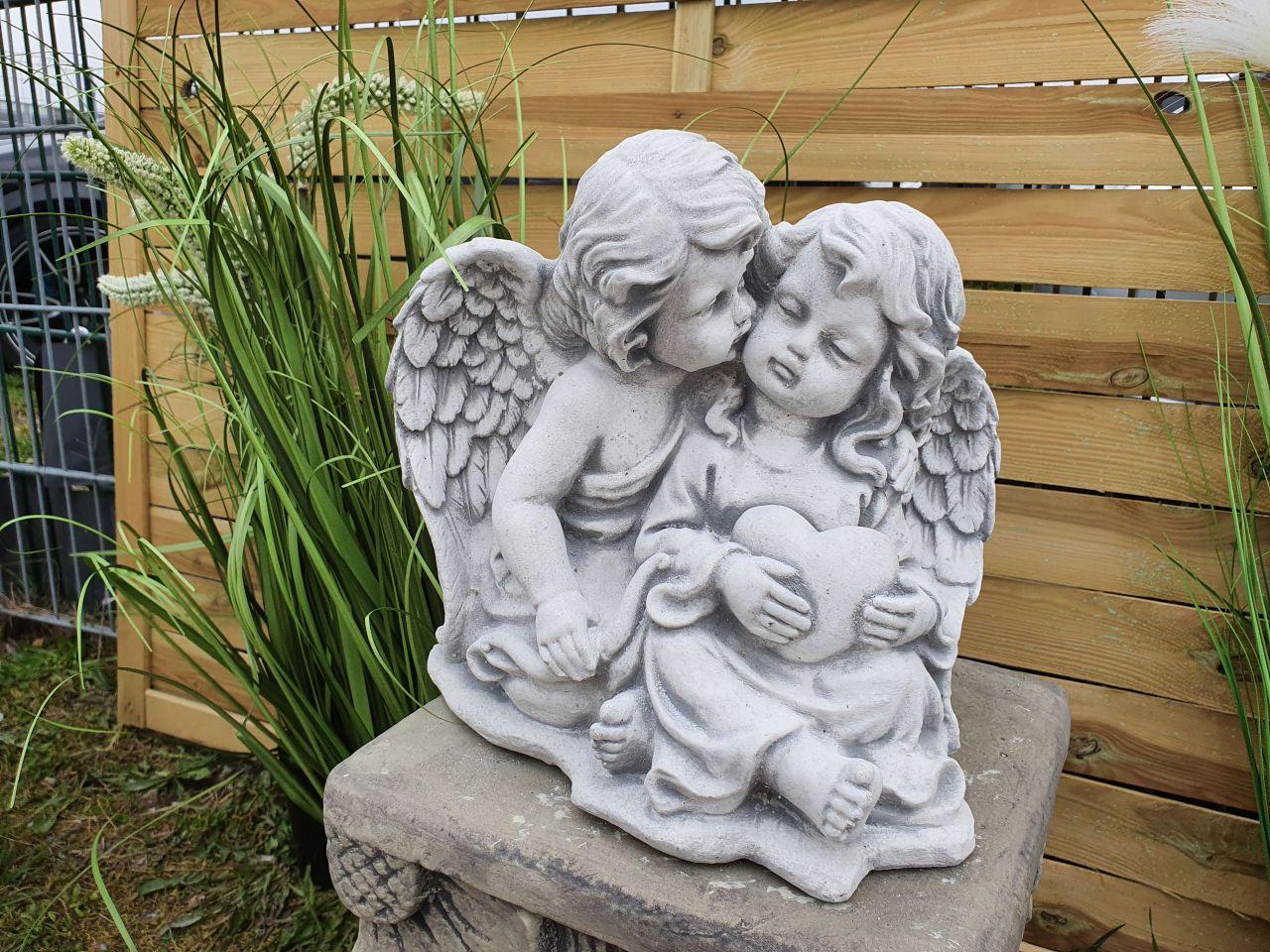 Gartenfigur Engelpärchen- antik