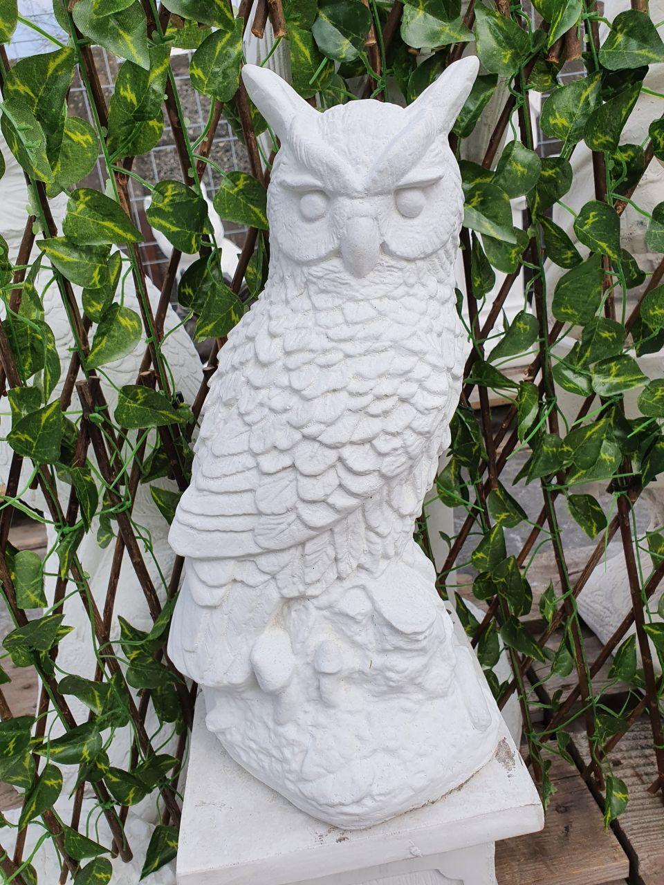 Gartenfigur Eule- klein- weiss