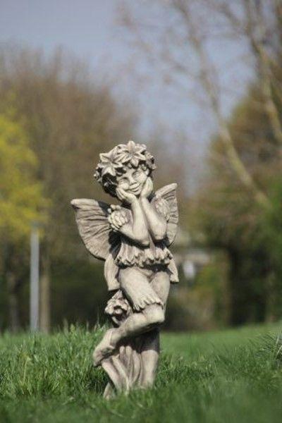 Gartenfigur FLOWER FAIRY Kornblume- Steinguss