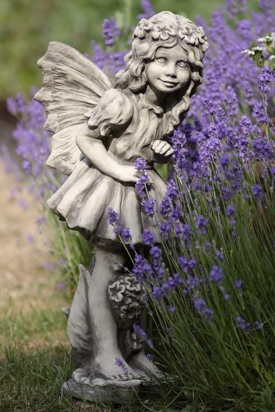 Gartenfigur FLOWER FAIRY Vanilleblume- Steinguss