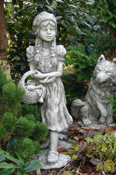 Gartenfigur Gebrüder Grimm ROTKÄPPCHEN- Steinguss