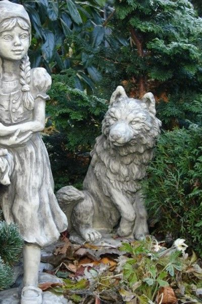 Gartenfigur Gebrüder Grimm WOLF- Steinguss
