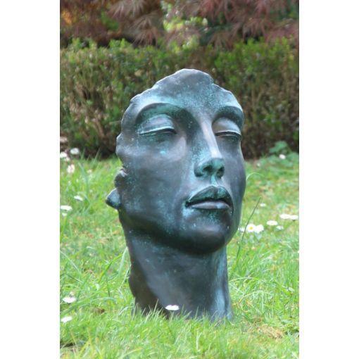 Gartenfigur Gesicht FRAU im Bronze Stil- klein