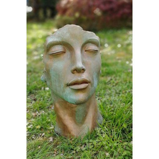 Gartenfigur Gesicht FRAU- Steinguss- Kupfereffekt- klein