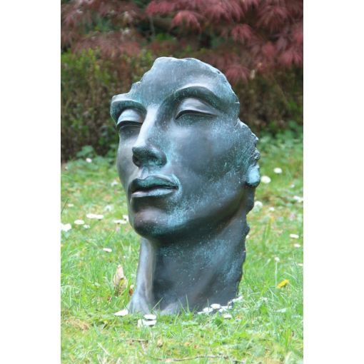 Gartenfigur Gesicht MANN im Bronze Stil- klein