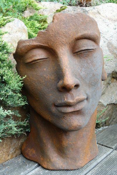 Gartenfigur Gesicht MANN- Steinguss- Edition Oxid- klein