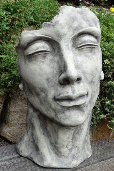 Gartenfigur Gesicht MANN- Steinguss- klein