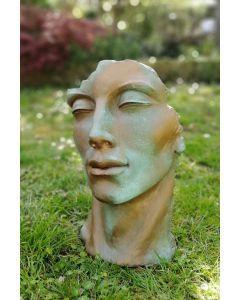 Gartenfigur Gesicht MANN- Steinguss- Kupfereffekt- klein