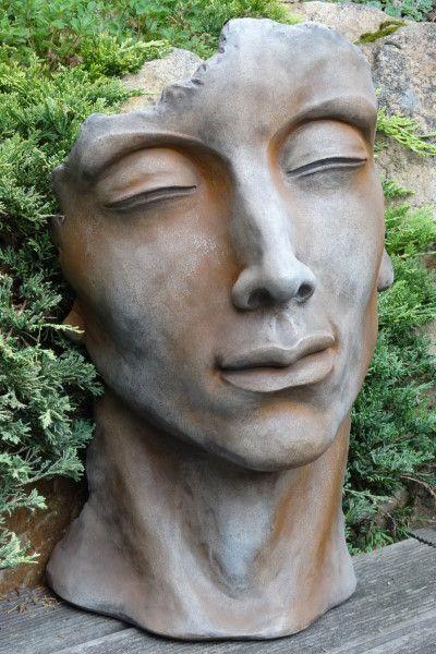 Gartenfigur Gesicht MANN- Steinguss- Rosteffekt- klein