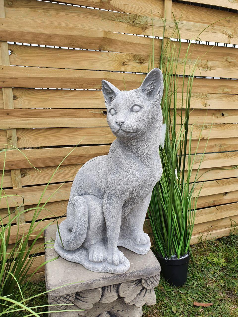 Gartenfigur Katze stehend- antik-grau