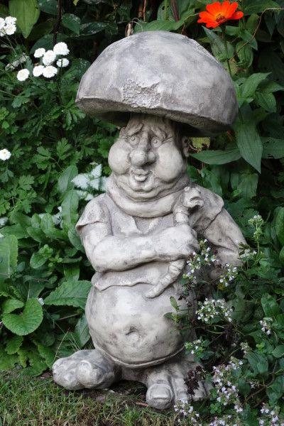 Gartenfigur Kobold Steinpilz- Steinguss