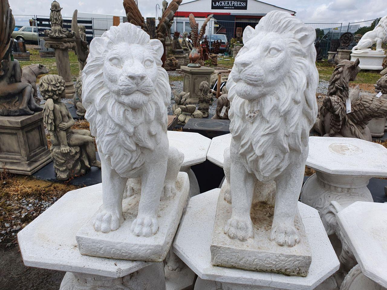 Gartenfigur Löwen Set- klein- antik grau