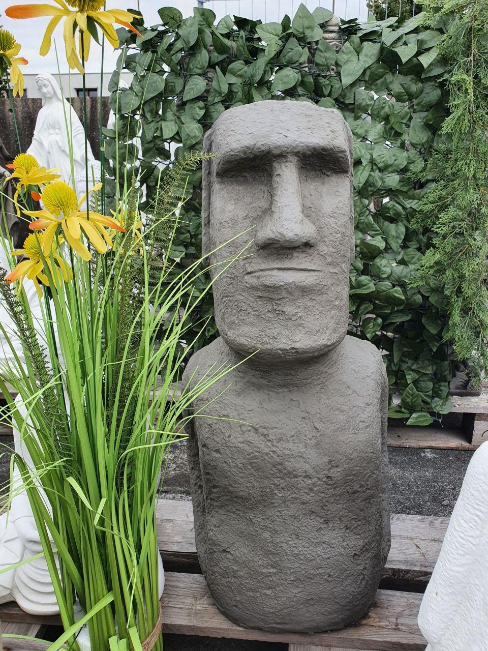 Gartenfigur Moai 1 Grau aus Betonguss
