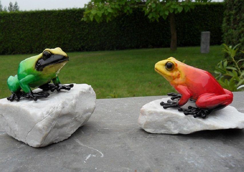 Gartenfigur Regenwaldfrosch Grün und Rot