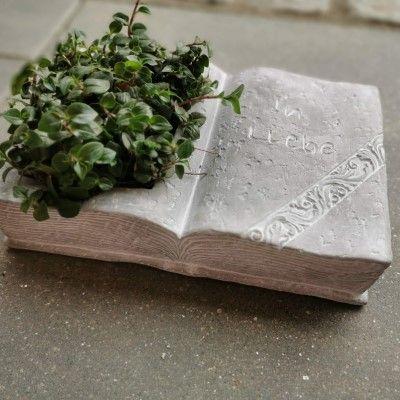 Gedenkbuch mit Spruch- zum bepflanzen- Zementgussvon Zauberblume