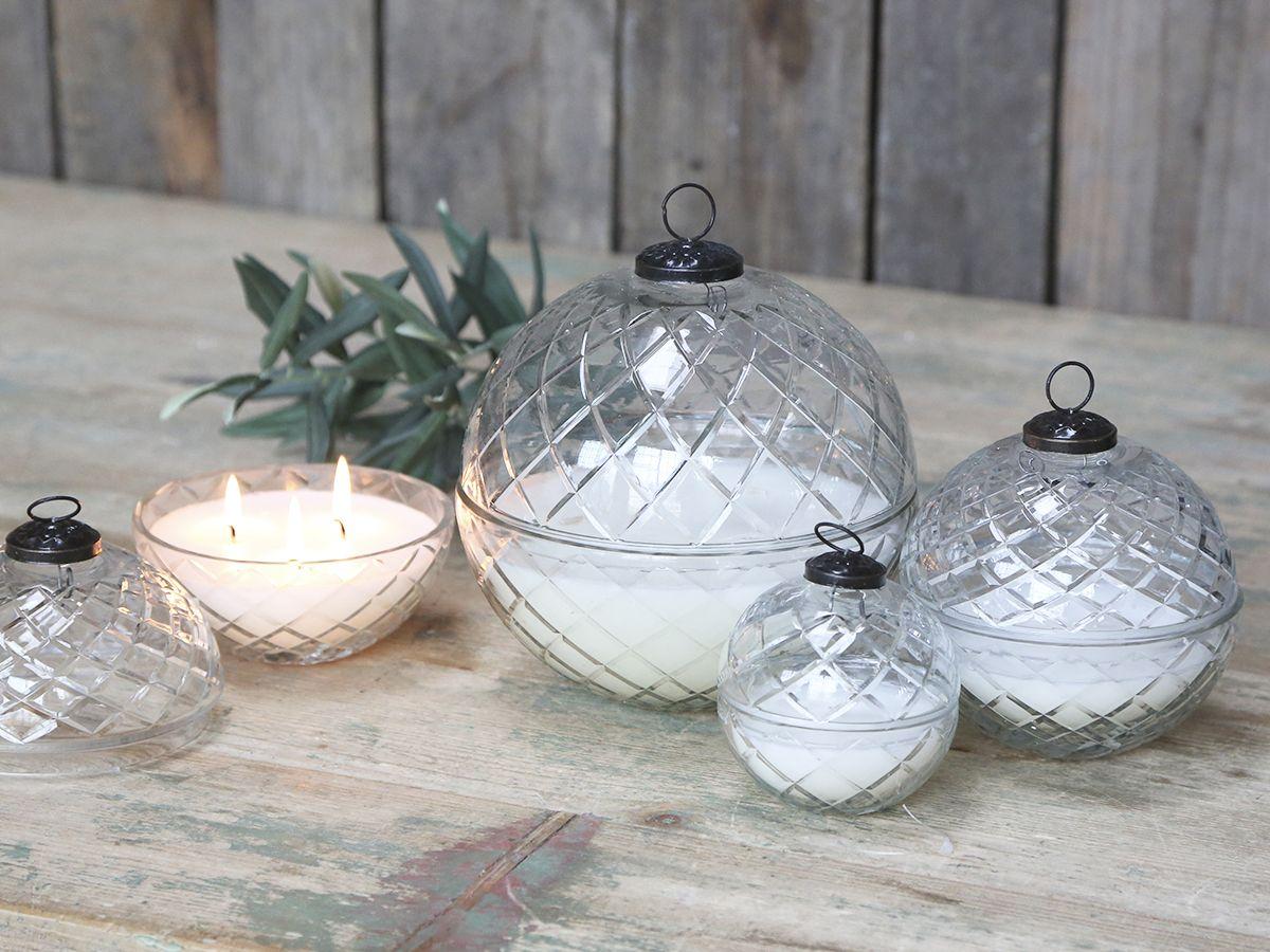 Glas Kugel m- Kerze und Diamantenschliff L von Chic Antique