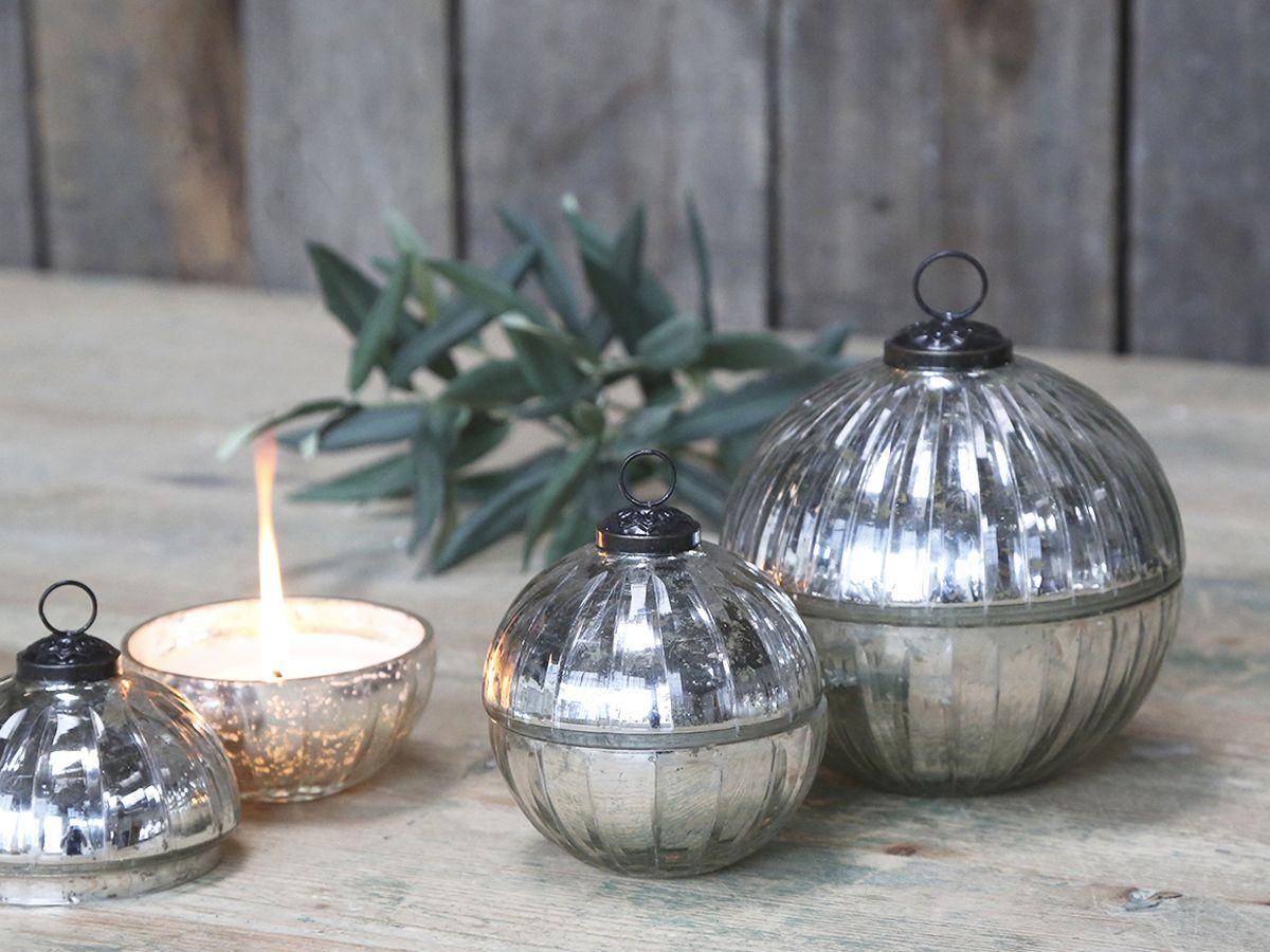 Glas Kugel m- Kerze und Rillenschliff von Chic Antique
